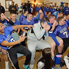 Players of the Leominster High School football team Laugh at the skits about them during the pep rally on Wednesday morning at City Hall. SENTINEL & ENTERPRISE/JOHN LOVE