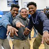 Leominster High School held it's football pep rally on Tuesday morning at the school. They will be playing Fitchburg on Thanksgiving day. These LHS football players are the Jackson three. From left is Keith Jackson, Chris Jackson and Kyle Jackson. SENTINEL & ENTERPRISE/JOHN LOVE