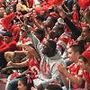 SENTINEL & ENTERPRISE / BYRON SMITH<br /> The Fitchburg High School football team cheer on their graduating seniors, who were honoring their parents, during the Fitchburg High School pep rally held at Fitchburg High School in Fitchburg on Tuesday, November 25, 2009.