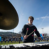 Rory Young performs with the Leominster High band during the Thanksgiving Day game on Thursday. SENTINEL & ENTERPRISE / Ashley Green