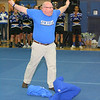Leominster High School Principal Tom Browne shows his seniors shirt after taking off his jacket to pump up the students during the school's pep rally, Tuesday. <br /> (photo courtesy of Creative by O'Connor Studios)