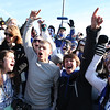 SENTINEL & ENTERPRISE / CONNOR GLEASON<br /> Leominster High School students cheer during the annual Turkey Bowl football game Thanksgiving Day morning against Fitchburg High School at Crocker Field in Fitchburg. Leominster defeated Fitchburg, 21-14.