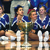 SENTINEL & ENTERPRISE / SARAH BRITAIN  The Nicholson Cup sits in the Leominster High School gym during the school's pep rally, Tuesday.