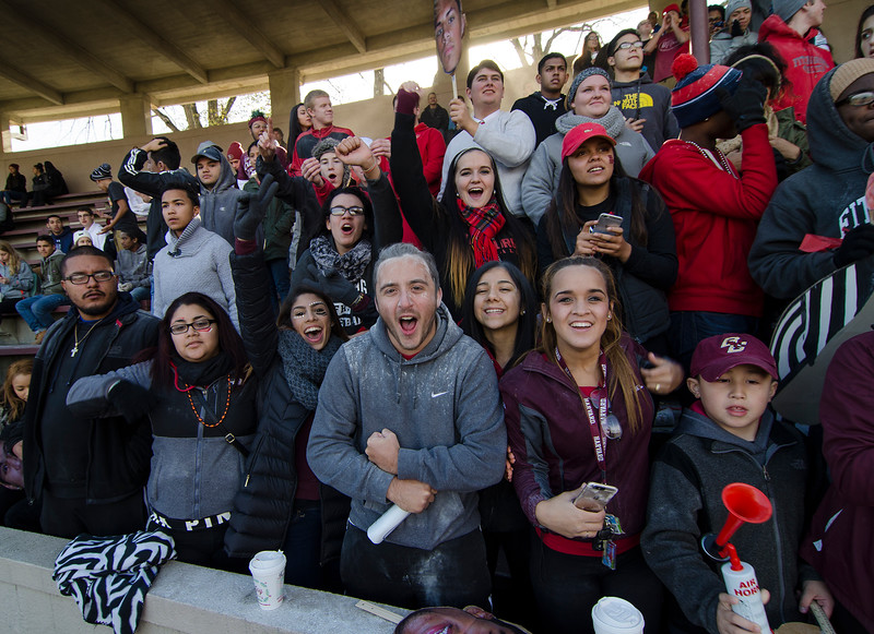 Fitchburg High fans cheer during the Thanksgiving Day game against Leominster on Thursday morning. SENTINEL & ENTERPRISE / Ashley Green