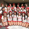 SENTINEL & ENTERPRISE / CONNOR GLEASON<br /> Fitchburg High School cheerleaders gather during FHS's pep rally at FHS Tuesday evening. FHS will face off against Leominster High School during the annual Turkey Bowl at Doyle Field in Leominster Thanksgiving morning.