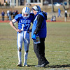 Leominster Head Coach Dave Palazzi talks with quarterback Neil O'Connor during Thursday's Thanksgiving Day rivalry game against Fitchburg at Crocker Field.<br /> SENTINEL & ENTERPRISE / BRETT CRAWFORD