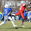 Fitchburg's Manny Payton almost intercepts a pass intended for Leominster's Jarrell Addo during Thursday's Thanksgiving Day rivalry game at Crocker Field.<br /> SENTINEL & ENTERPRISE / BRETT CRAWFORD