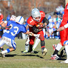 Fitchbug's Julio Gonzalez carries the ball through Leominster's defense during Thursday's Thanksgiving Day rivalry game.<br /> SENTINEL & ENTERPRISE / BRETT CRAWFORD