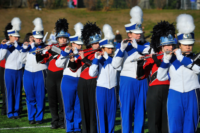 SENTINEL & ENTERPRISE / BRETT CRAWFORD<br /> Fitchburg and Leominster's marching band perform together at the beginning of the annual Thanksgiving Day rivalry football game at Doyle Field, Thursday.
