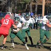 SENTINEL & ENTERPRISE / JOHN LOVE<br /> Nashoba's John Ojukwu gets some great blocking as he runs with the ball during action in the Thanksgiving game Thursday morning in Townsend.