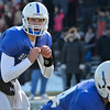 Leominster QB Noah Gray waits for the ball during the Thanksgiving matchup on Saturday afternoon at Doyle Field. SENTINEL & ENTERPRISE / Ashley Green