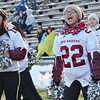 Fitchburg cheerleaders Karsyn McLeod and Ananda Parks during the Thanksgiving matchup on Saturday afternoon at Doyle Field. SENTINEL & ENTERPRISE / Ashley Green