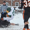 Oakmont's Jarrod Erskine is brought down during the Thanksgiving game against Gardner on Thursday morning. SENTINEL & ENTERPRISE / Ashley Green