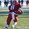 Fitchburg quarterback Darius Flowers intercepts a pass during the Thanksgiving matchup on Saturday afternoon at Doyle Field. SENTINEL & ENTERPRISE / Ashley Green