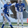Leominster's Noah Gray and D'Andre Addo celebrate after a touchdown during the Thanksgiving matchup between LHS and Fitchburg on Saturday afternoon at Doyle Field. SENTINEL & ENTERPRISE / Ashley Green