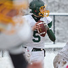 Oakmont quarterback Shamus Gorman prepares to pass during the Thanksgiving game against Gardner on Thursday morning. SENTINEL & ENTERPRISE / Ashley Green