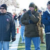 Former football coaches watch the Thanksgiving matchup between Leominster and Fitchburg on Saturday afternoon at Doyle Field. From left is former FHS coach Raymond Cosenza, former Oakmont coach Da LaRoche, and former LHS John Dubzinski. SENTINEL & ENTERPRISE / Ashley Green
