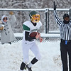 Nick Ricci catches it in the end zone for an <br /> Oakmont touchdown during the Thanksgiving game against Gardner on Thursday morning. SENTINEL & ENTERPRISE / Ashley Green