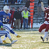 Leominster's Shane Crayton holds the kickoff for Christion Lewis during the Thanksgiving matchup between Leominster and Fitchburg on Saturday afternoon at Doyle Field. SENTINEL & ENTERPRISE / Ashley Green