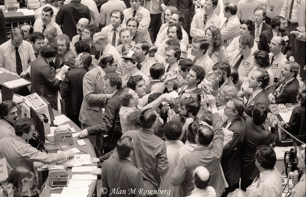 The crowds gather on opening day of trading XMI Options on the trading floor of the Ameican Stock Exchange