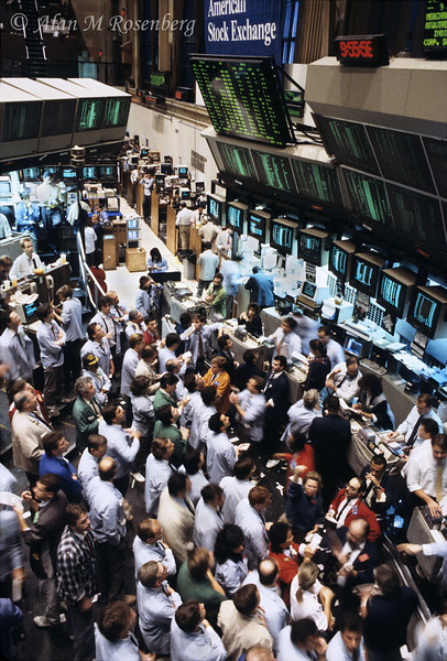 A busy morning in the Pit at the American Stock Exchange