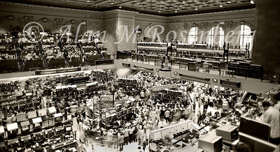 Overview of the American Stock Exchange trading floor with the new mezzanine nearing completion. Photo taken Nov. 1982