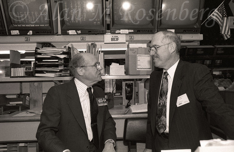 Specialist Raymond Cohn with the Chairman of Visx listed on the AMEX May 20, 1991