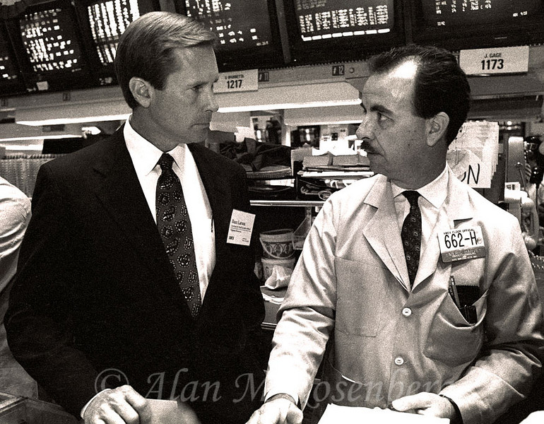 AMEX Floor Official Emeric Harvey, specialist with Harvey & Yurman with Buzz Larson, Chairman of Chippewa Resources listing on Jul7 18, 1991