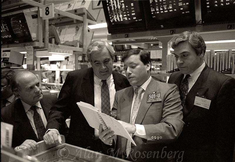 SLK Specialist Andy Cohen with officers of Community National Bancorp. Listed on the AMEX  May 31, 1990