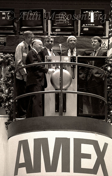 AMEX Chairman and CEO,  Jim Jones rang the opening bell that began the first day of trading for the new decade on Jan 2, 1990.