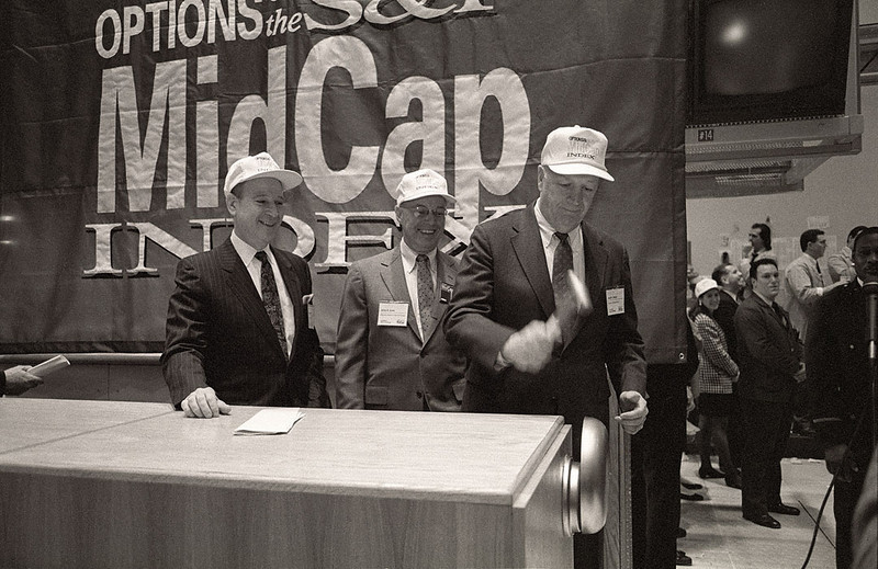 Feb. 13 1992 The AMEX Launched the Midcap Index. Ringing the opening bell was Joseph L. Dionne, Chairman of McGraw Hill, with (C) AMEX Chairman, Jim Jones and (L) Dr. Philip Frost, Chairman of Ivac Corp.