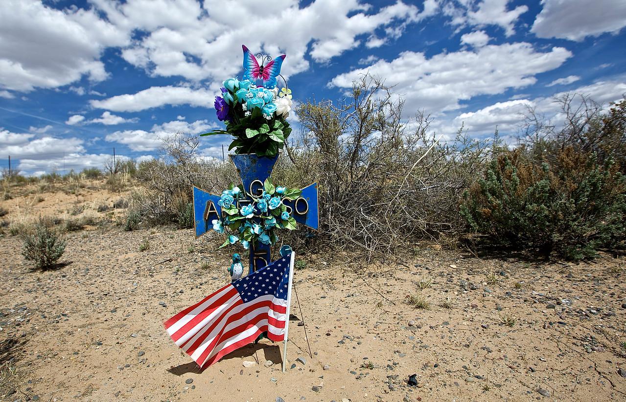 Roadside Memorial #17.  Approaching Ship Rock, New Mexico