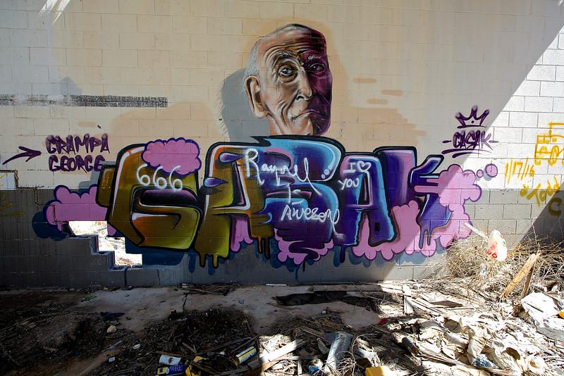 Grampa George Graffiti.  Interstate 10, Sierra Blanca, Texas