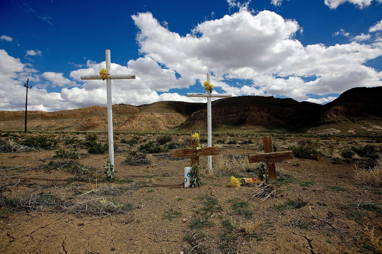 Roadside Memorial #4.  Railroad Valley, Hwy 6, Nevada