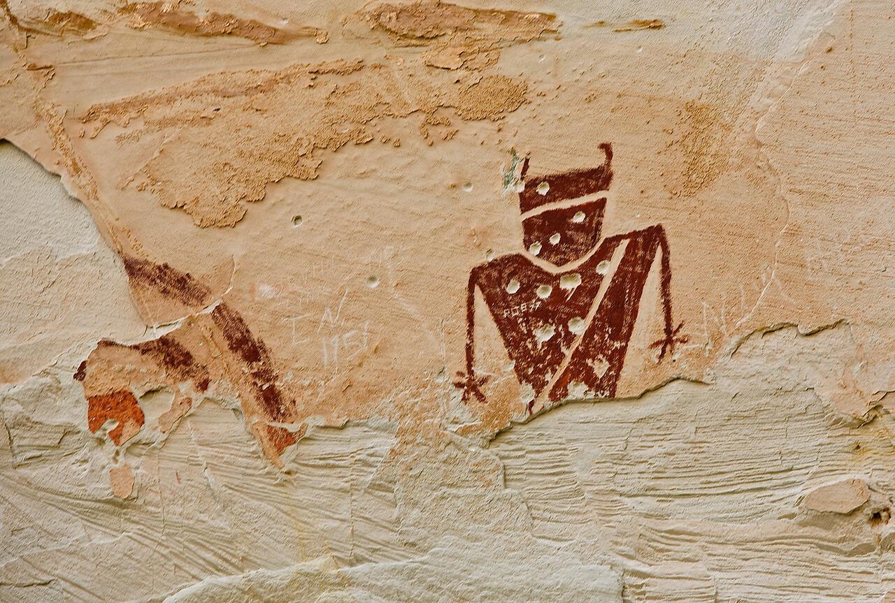 Bullet Hole Petroglyph #1.  Near Goblin State Park, Utah. Hwy 24