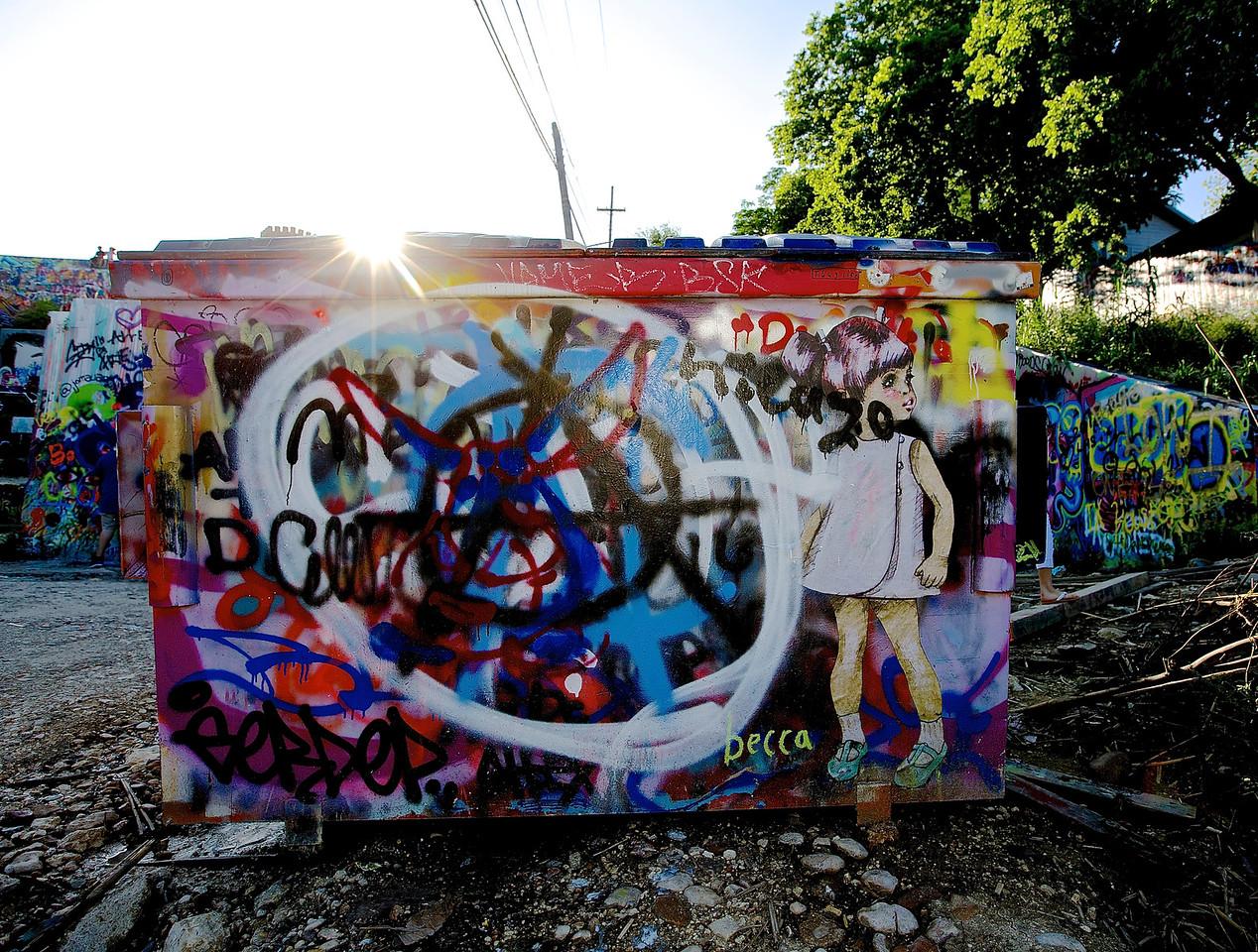 Dumpster. Art.  Graffiti Park At Castle Hills #10.  Austin, Texas