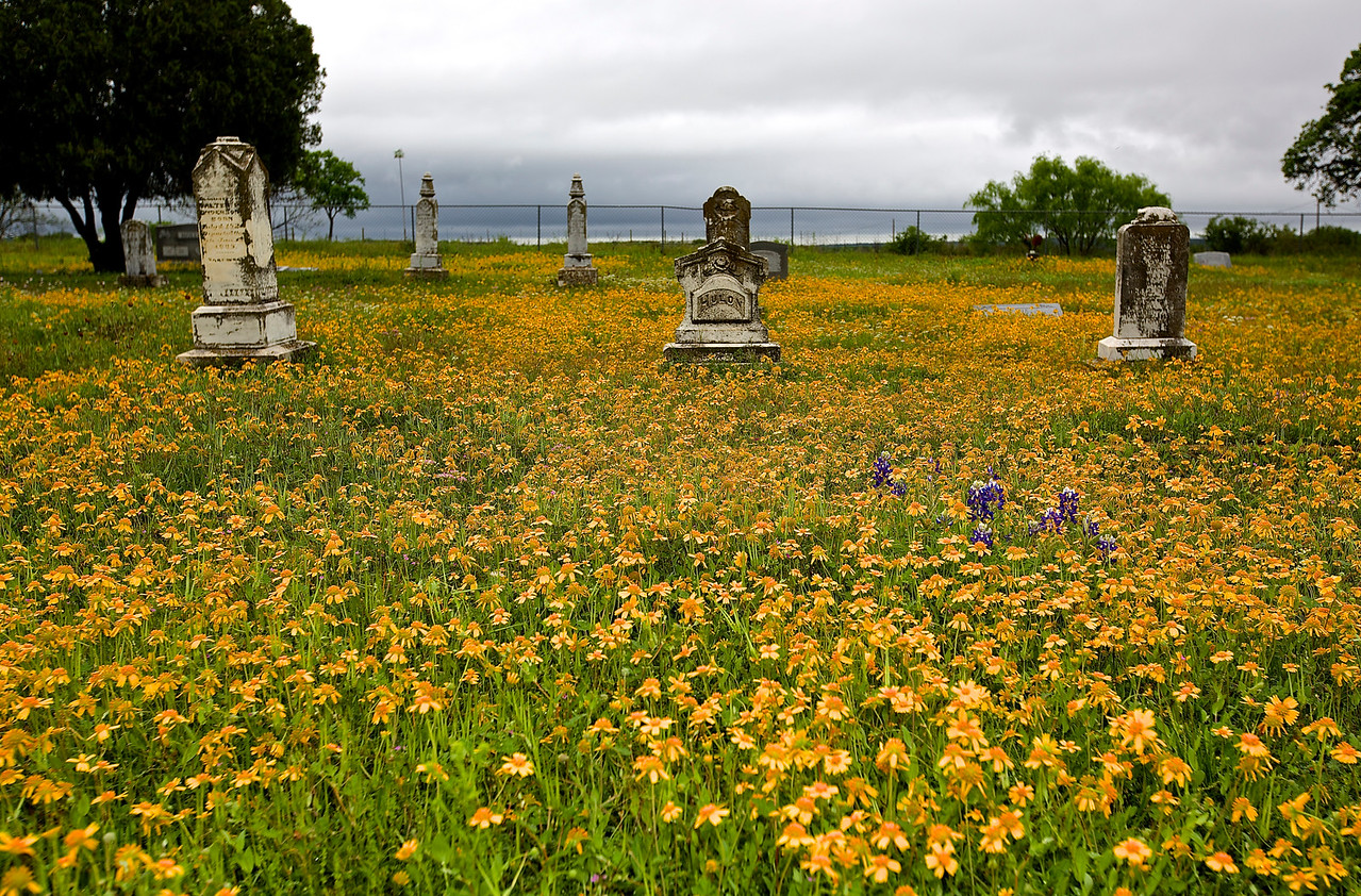 Voca Cemetery Headstones With Flowers. Off Hwy 71