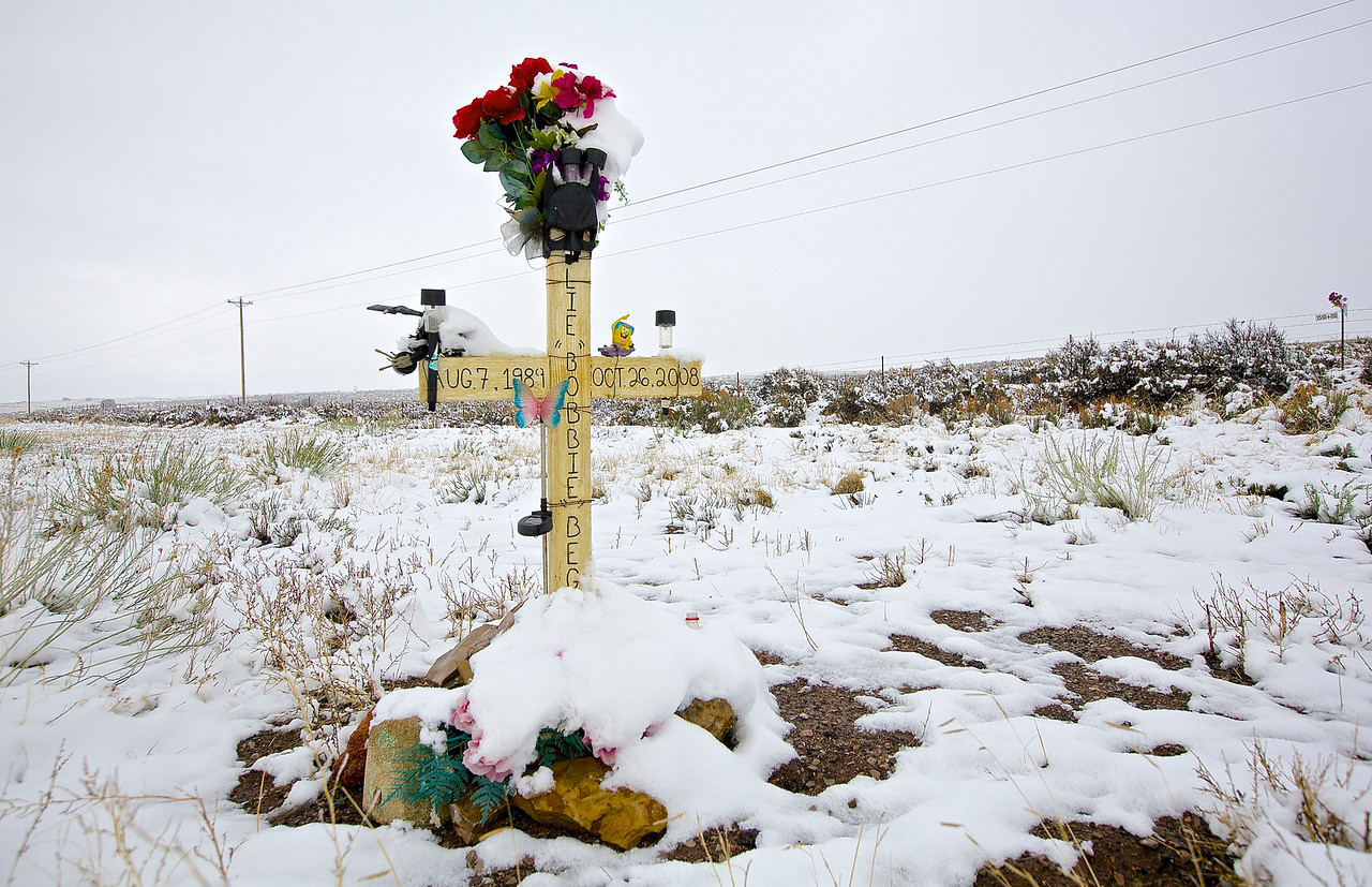 Roadside Memorial #13,  Interstate 40, Gallup, New Mexico