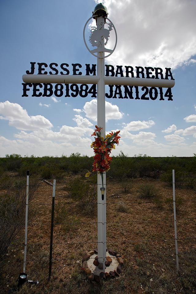 Roadside Memorial #18.  Approaching Ship Rock, New Mexico