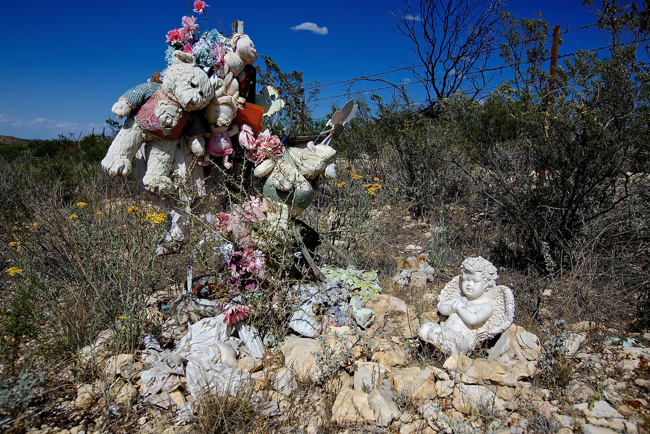 Roadside Memorial #16.  Approaching Fort Stockton, Texas, Hwy 67
