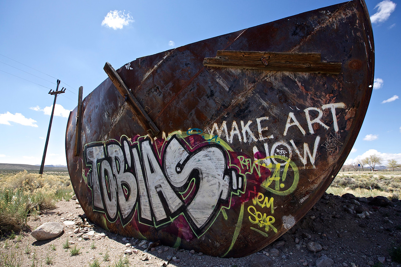 Make Art Now.  High Desert Graffiti. Hwy 6, Nevada