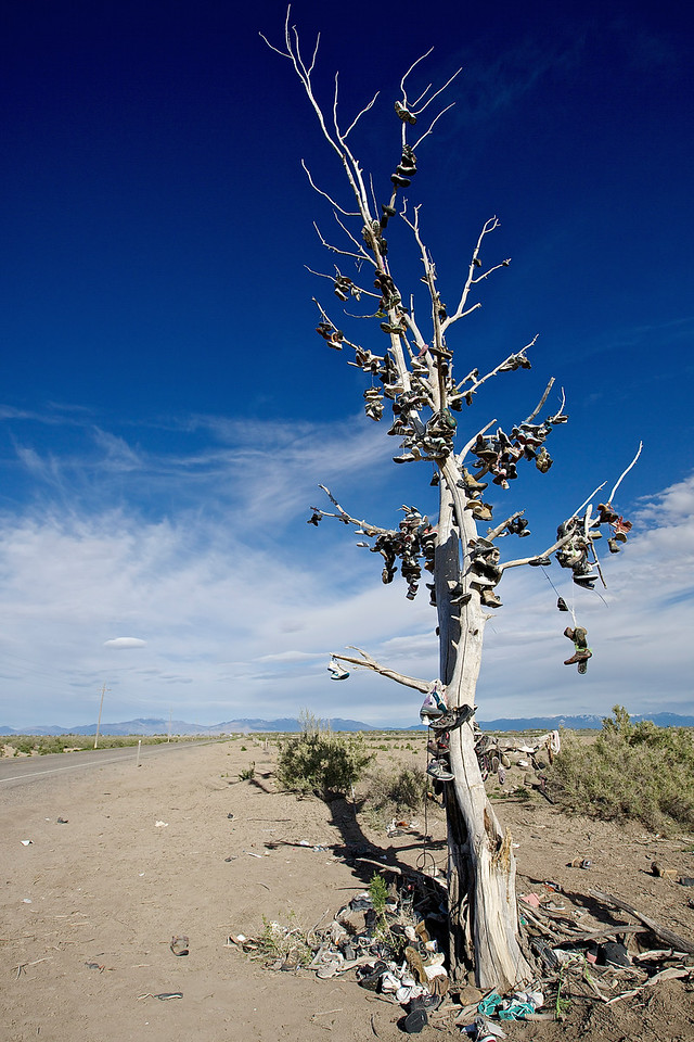 Tree Of Shoes.  Hwy 50, Hinckley, Utah