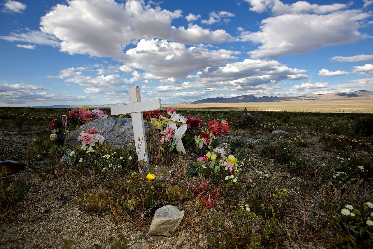 Roadside Memorial #1.  Walker Lake, Nevada