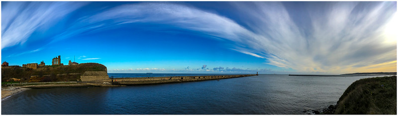 TYNEMOUTH PRIORY & PIER - AND A 'CLOUD RAINBOW'