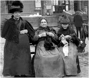KNITTING GANSEY & SOCKS. N. SHIELDS FISH QUAY EARLY1900s