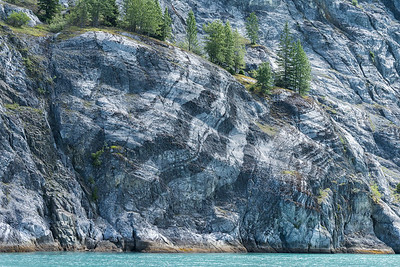 Striations and intrusions in the metamorphic rock of Gloomy Knob, Glacier Bay National Park.