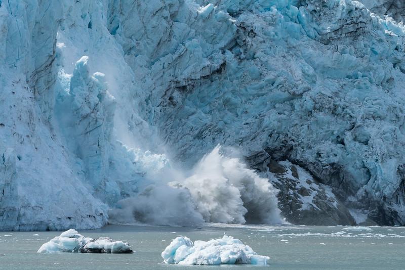 Calving Margerie Glacier, Alaska.