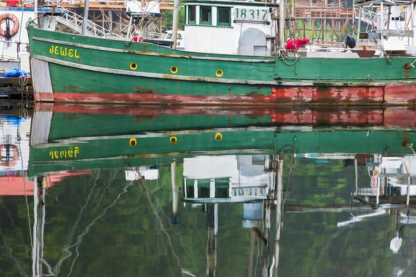 Boat and reflections, Elfin Cove, Alaska.