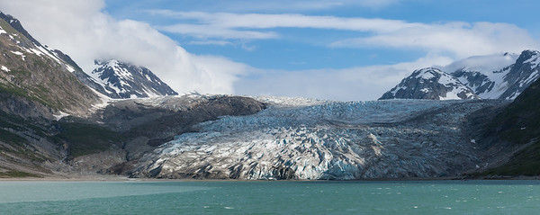 Panorama of Reid Glacier in Alaska.