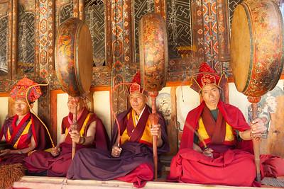 Monk musicians perform at ceremony, Gangtey Gonpa, Bhutan.